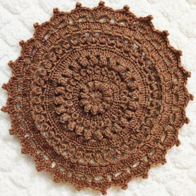 Round Textured Crochet Flower Tablemat by rajiscrafthobby