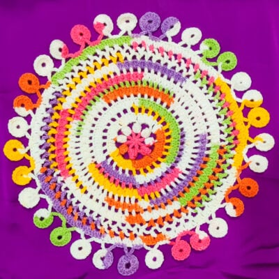 Cheerful Summer Crochet Doily With Circle Edging by rajiscrafthobby