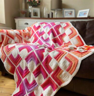 Hot Crochet Square Blanket by Hannah Cross