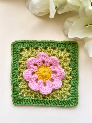 Flower Power Granny Square by Veronika Cromwell