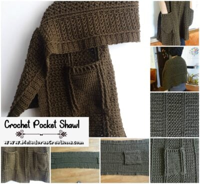 Cable Pocket Shawl by Candy Lifshes from Meladora's Creations.