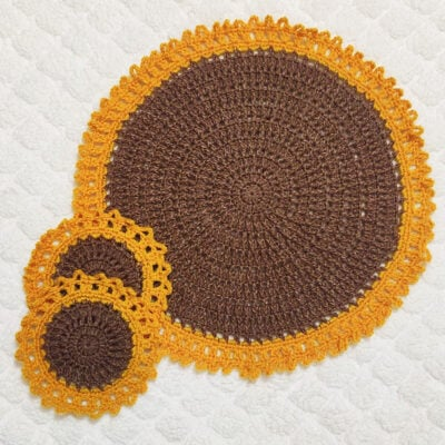Easy To Make Crochet Sunflower Tablemat Doily by rajiscrafthobby