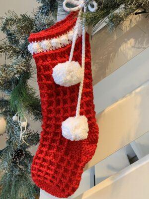 Waffle Christmas Stocking by Memory Lane Crochet.
