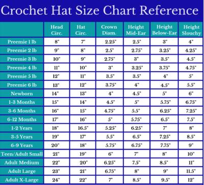 Crochet Hat Size Chart