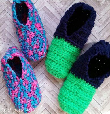 Kids Quick and Easy Slipper Socks by  Alexandra of EyeLoveKnots.