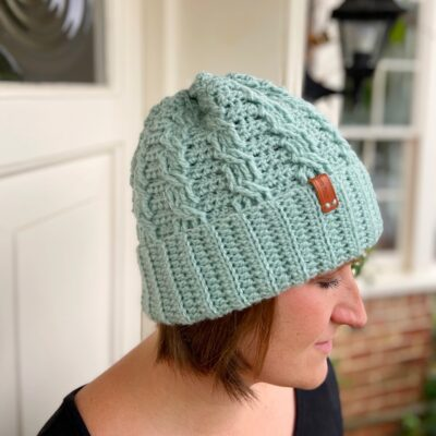 Neo Mint Crochet Cable Hat by Hannah Cross from HanJan Crochet