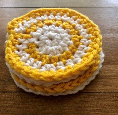 Spiral Honey and Cream Coasters - Design by Rebecca Lynn