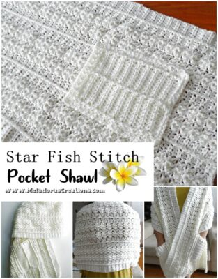 Star Fish Pocket Shawl by Candy Lifshes from Meladora's Creations