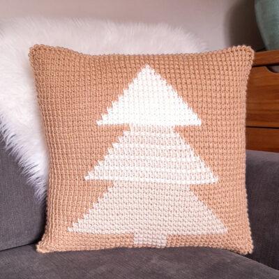 Tunisian Crochet Christmas Tree Pillow by Sarah Ruane from Ned & Mimi
