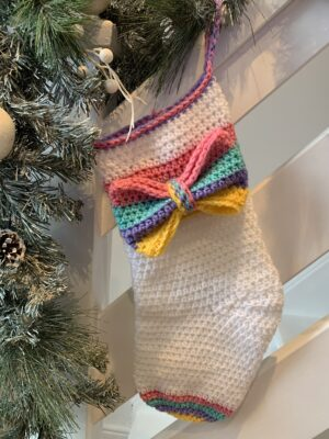 2020 Rainbow Christmas Stocking by Memory Lane Crochet.