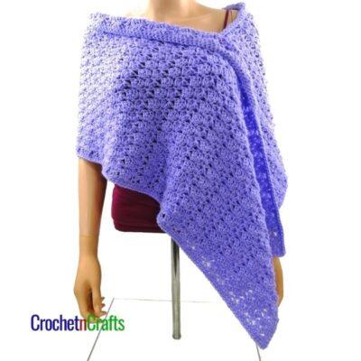 Cluster V-St Small Shell Crochet Shoulder Wrap by CrochetnCrafts
