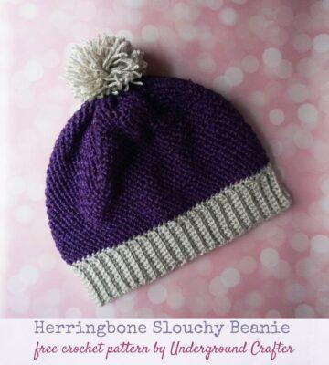 Herringbone Slouchy Beanie by Marie Segares/Underground Crafter