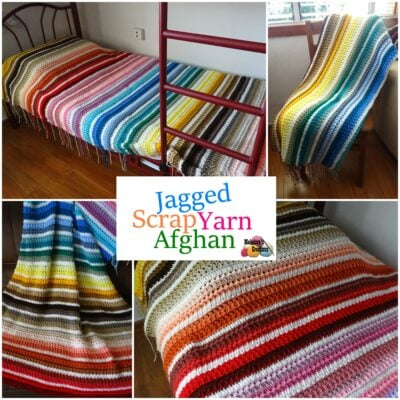 Jagged Scrap Yarn Afghan by Candy Lifshes from Meladora's Creations