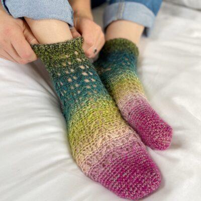 Rialto Lacy Crochet Socks Pattern by Hannah Cross from HanJan Crochet
