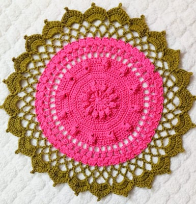 Easy Crochet Round Floral Doily Placemat by rajiscrafthobby