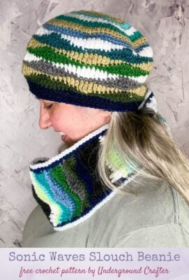 Sonic Waves Slouch Beanie by Marie Segares/Underground Crafter