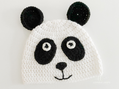 Panda Bear Hat by Melissa Hassler from Lovable Loops