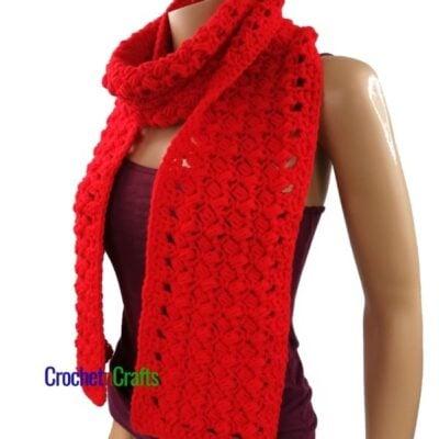 Slanted Puff Stitch Textured Crochet Scarf by CrochetnCrafts