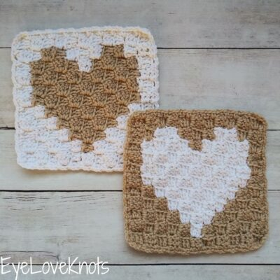 C2C Enamored Heart Afghan Square by Alexandra of EyeLoveKnots