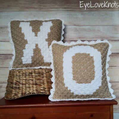 "18"" C2C Alphabet Throw Pillow by Alexandra of EyeLoveKnots"