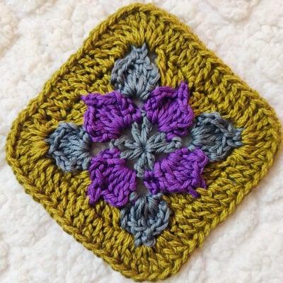 Crochet Picot Flower Square Motif by rajiscrafthobby