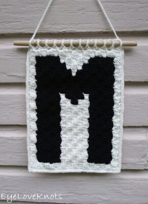 C2C Alphabet Wall Hanging by Alexandra of EyeLoveKnots. This hanging shows the M.