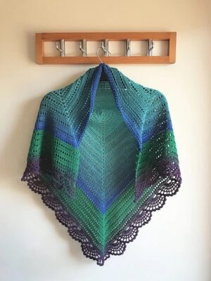 Peafowl Feathers Crochet Shawl  by Veronika Cromwell from Blue Star Crochet
