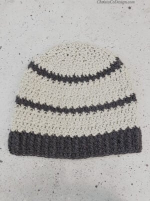 Verso Beanie by ChristaCoDesign, The beanie is shown with a few stripes.