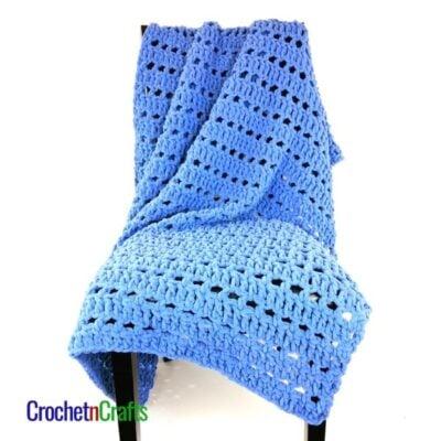 Eyelet Rows Super Bulky Yarn Throw Pattern by CrochetnCrafts