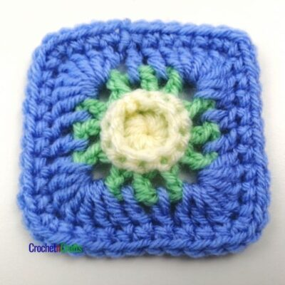 3.75-Inch Raised Center Easy Crochet Afghan Square by CrochetnCrafts