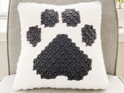 Paw Print Pillow by Melissa Hassler from Lovable Loops