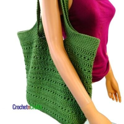 Double Crochet and Cross Stitch Tote by CrochetnCrafts.