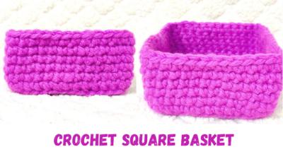 Crochet Square Basket by rajiscrafthobby.