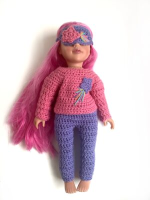 Shooting Star Doll Pyjamas by Rose Hudd from Memory Lane Crochet.