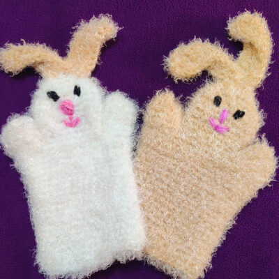 Rabbit Bunny Crochet Hand Puppet by rajiscrafthobby. Two hand puppets shown in a beige and white, and both with a cute pink nose and mouth.