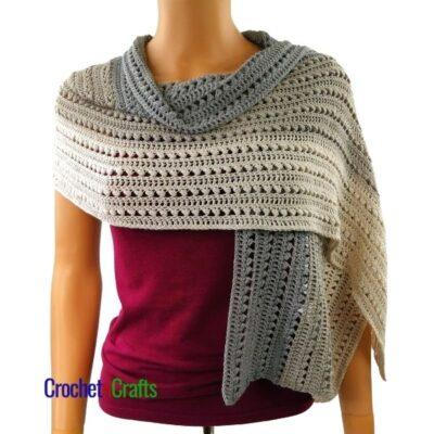 Slanted Cluster Elegant Crochet Wrap Pattern by CrochetnCrafts.