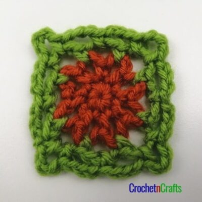 3 Inch Chain Stitch Crochet Afghan Square by CrochetnCrafts. The square is shown in two colors.