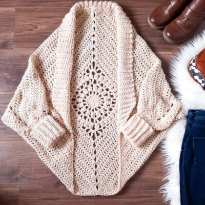 Dream Catcher Cardi by Sarah Ruane from Ned & Mimi. The cardigan has a nice lacy design at the back.
