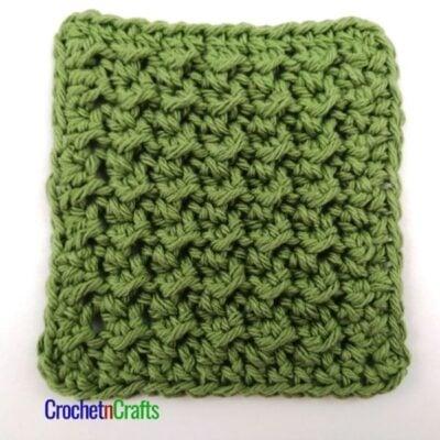 Crochet Crunch Stitch Tutorial by CrochetnCrafts. The crochet crunch stitch is shown in medium weight yarn.
