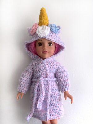 Unicorn Dolls Dressing Gown by Rose Hudd from Memory Lane Crochet