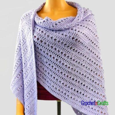 Double Crochet and Cross Stitch Asymmetrical Shawl by CrochetnCrafts
