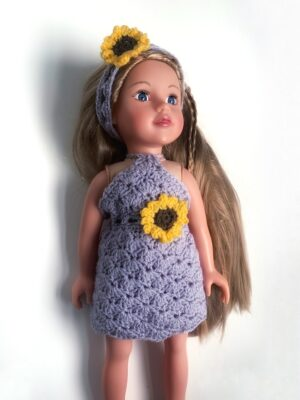Sunflower Doll Dress by Rose Hudd from Memory Lane Crochet