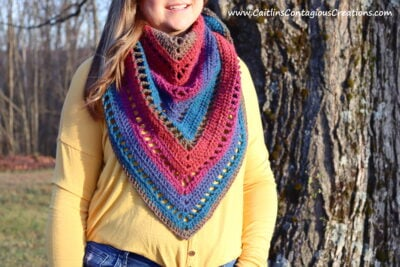Beginner Triangle Shawl Crochet Pattern by Caitlin's Contagious Creations