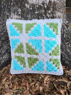 C2C Window Pane Throw Pillow by Alexandra of EyeLoveKnots.
