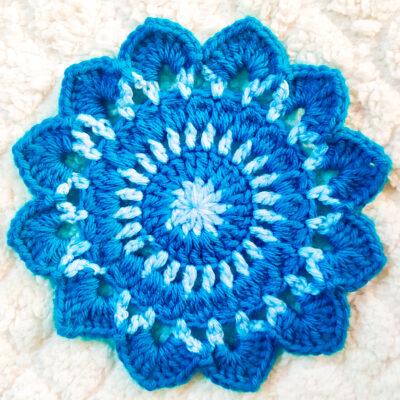 Seaside Coastal Flower Crochet Coaster by rajiscrafthobby