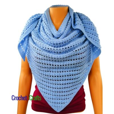Bead and Lace Triangular Crochet Shawl by CrochetnCrafts