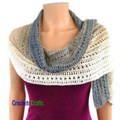 Double Crochet and Cross Stitch Rectangular Shawl Crochet Pattern by CrochetnCrafts