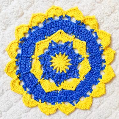 Blooming Flower Crochet Doily by rajiscrafthobby