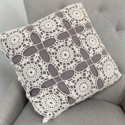 Crochet Lace Square Motif Cushion by Hannah Cross from HanJan Crochet