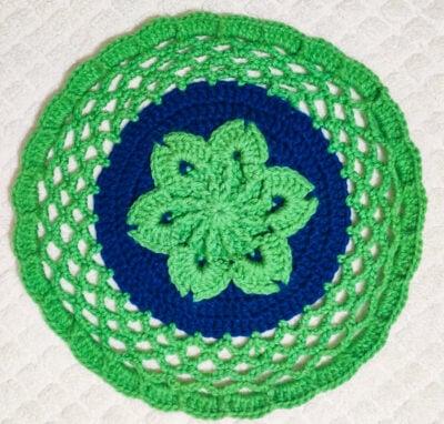 Round Crochet Flower Floor Rug by rajiscrafthobby